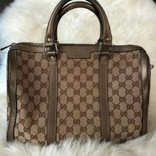Gucci Boston in Gold Leather Trim