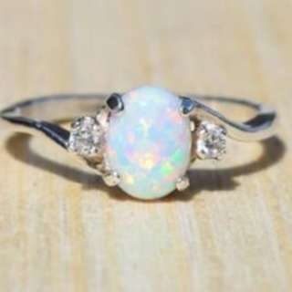 Fire Opal 925 Silver Crystal Gemstone Women Jewelry Ring