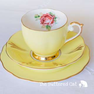 Pretty vintage lemon yellow trio, pink rose, cute round shaped teacup