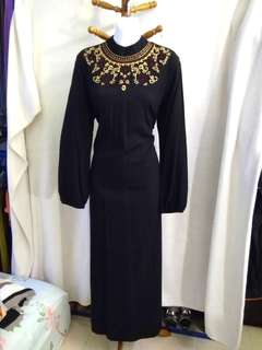 Beautiful long black embroidered dress