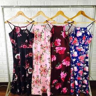 Pink Floral Halter Midi Dress
