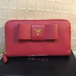Prada Saffiano Long Wallet in Pink