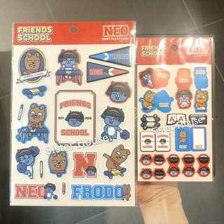 (包郵)🇰🇷Kakao Friends School Neo Point PVC & Index Sticker Set 貼紙套裝
