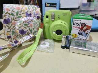 Instax Mini 9 lime green complete set with leather bag and 30 films