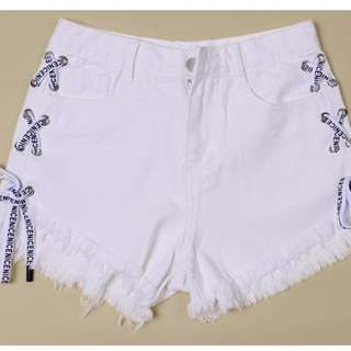 White Shoelace Denim Ripped Shorts