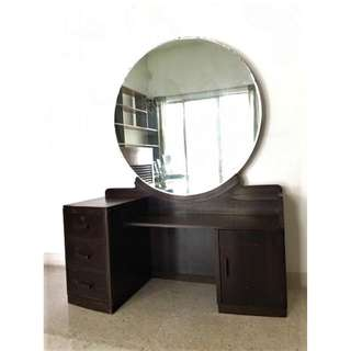 Vintage 1940's Art Deco Solid Wood Dressing Table with Large Round Mirror