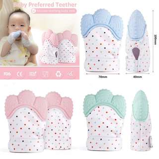 INSTOCKS: Food grade silicon. FDA approved. Teething mittens.