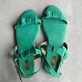 S&H - Green Ribbon Sandals