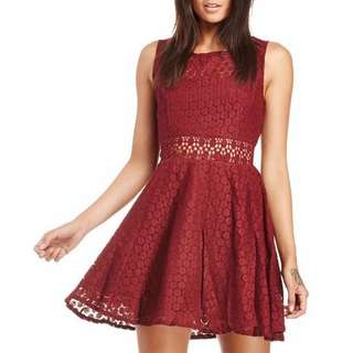 Lace Skater Dress in Maroon