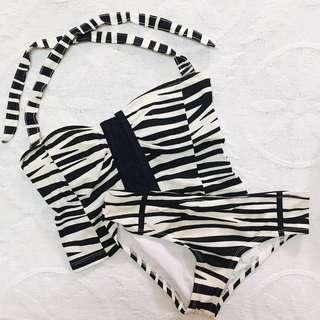 Folded & Hung zebra print corset-type tankini