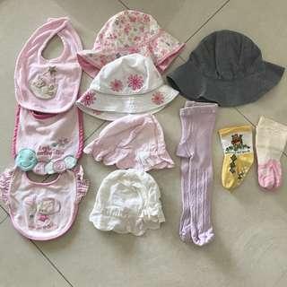 Baby bundle hats, leggings, socks and bibs