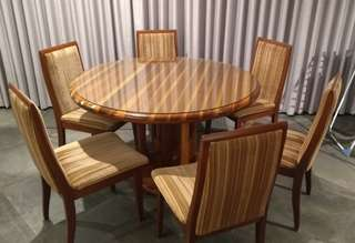 Solid wood / timber round dining table and jarrah chairs