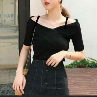 Korean Elegant Chic Black Off Shoulder Top