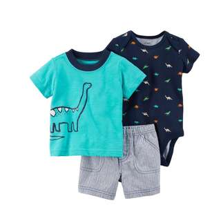 🚚 CABY117 Carters Baby Boys 3-Piece Little Short Set - Dinosaur