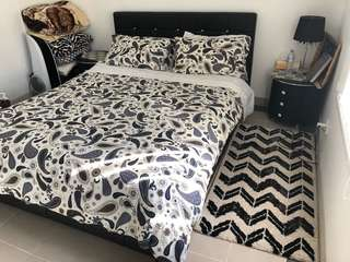 Queen size bed and side tables