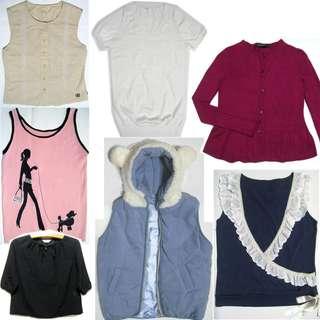 無袖上衣、針織衫背心、lativ針織短袖衫、蕾絲邊外搭背心、H2O黑色麻紗上衣、G2000開襟衫毛衣、白熊帽舖棉背心外套