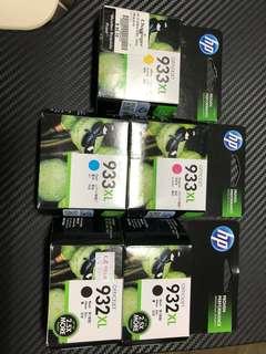 5 HP Ink Cartridges officejet 933/932
