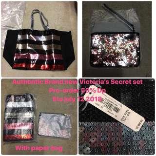 Authentic original Victoria's Secret tote bag with wristlet pouch