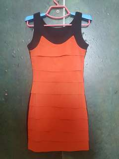 Dress black-orange stripe