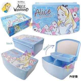 🚚 迪士尼公主收納盒化妝盒愛麗絲公主兩段式收納盒(內有鏡子)