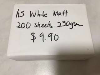 A5 White Matt 250 grams