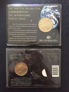 1992 $5 Coin commemorating the international year of space