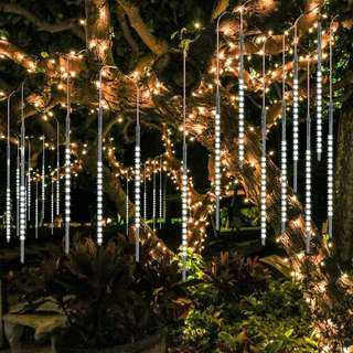 Hari Raya Special - BlueFire Upgraded Meteor Shower Falling Rain Drop Light 50cm 10 Tubes White