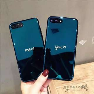 Iphone case情侶創意藍光鏡面軟膠手機殼
