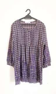 J+J+Co Embroided Plaid Long Slv Shirt