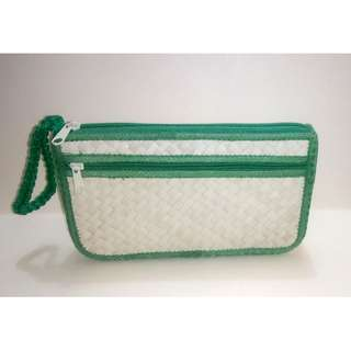 Banig/buri two pocket purse with green lining