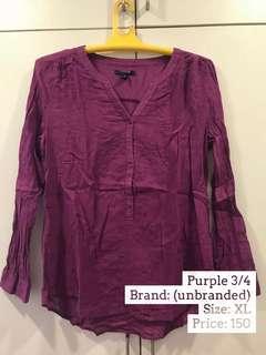 Purple 3/4 Sleeves Blouse