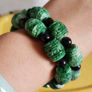 Grade A myanmar jade with cert 大珠手链  辣绿色