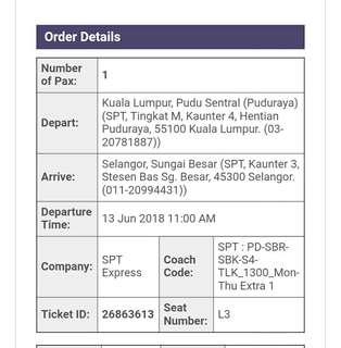 Bus Ticket - SPT Ekspress