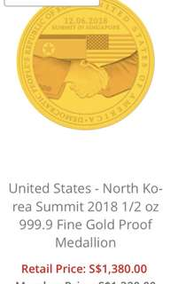 US-North Korea Summit 2018 Gold Medallion