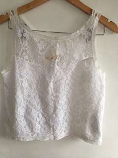 Hollister white lace top