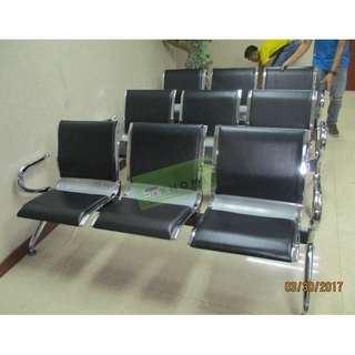 3 SEATER GANG CHAIR WITH CUSHION - LEATHERETTE--KHOMI