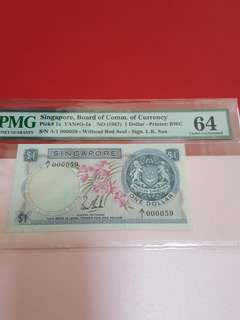 $1-singapore 1st series orchid 1st prefix .A/1-000059.pmg64.no epq bcoz minor foxing.sign Lks.