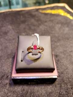 18k玫瑰金鑲鑽石紅寶戒指
