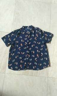 Dark Blue Blouse with Bird Pattern