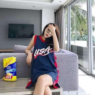 Minimei追加款✪韓系韓版歐美風百搭休閒無袖T恤女夏季古著運動籃球衣吊帶衫T恤裙學生長背心