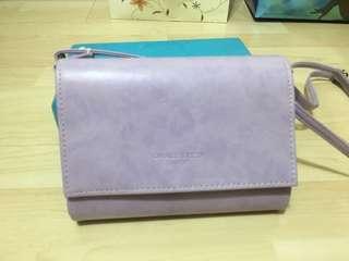 粉紫色復古斜咩袋(80%新)