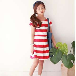 🚚 MME3912 Girls Red Striped Pleated Dress (Mom's Size Avail)
