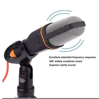 Professional Condenser Sound Podcast Studio Recording Microphone Mic with Tripod Stand for PC Laptop Computer Apple Mac Skype (Black)