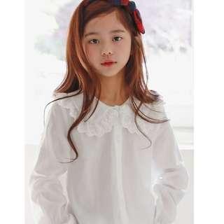 🚚 MME3662 Girls  White Eyelet Lace Blouse Shirt