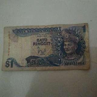 Duit Kertas Satu Ringgit $1