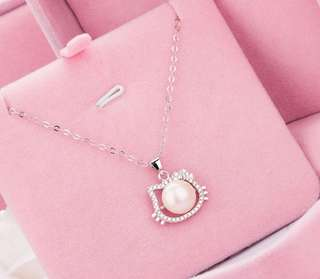 HK with Stones and Pearl 92.5 Sterling Silver Necklace