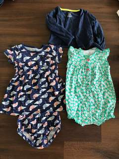 Carter's dress, romper and cardigan