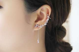 Elegant Tassel Leaves Silver Plated Earrings