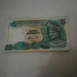 Duit  Kertas Lima Ringgit Malaysia Lama $5