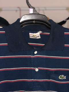 Lacoste Polo Navy with red & white stripes
